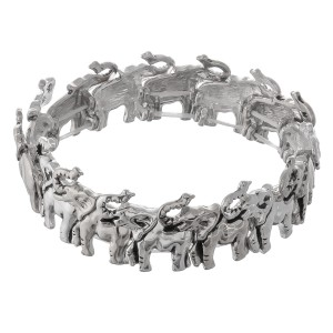 """Antique silver metal elephant stretch bracelet.  - Approximately 3"""" in diameter unstretched - Fits up to a 7"""" wrist"""