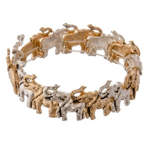 """Two tone antique metal elephant stretch bracelet.  - Approximately 3"""" in diameter unstretched - Fits up to a 7"""" wrist"""