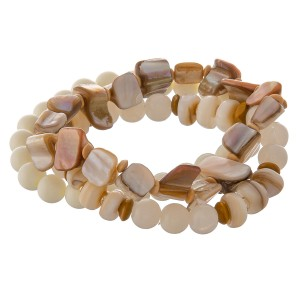 """Semi precious beaded grey shell bracelet set of three with glass bead details.  - Approximately 3"""" in diameter unstretched - Fits up to a 7"""" wrist"""