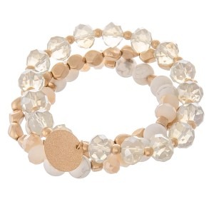 """Semi precious faceted beaded charm stretch bracelet set.  - 3pcs/pack - Approximately 3"""" in diameter unstretched - Fits up to a 7"""" wrist"""