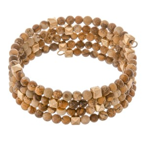 "Semi precious beaded bohemian wrap bracelet.  - Approximately 2.5"" in diameter  - Fits up to a 6"" wrist"