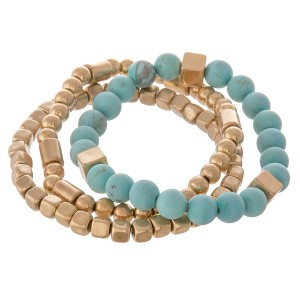 """Semi precious gold beaded stretch bracelet set.  - 3pcs/pack - Approximately 3"""" in diameter unstretched - Fits up to a 7"""" wrist"""