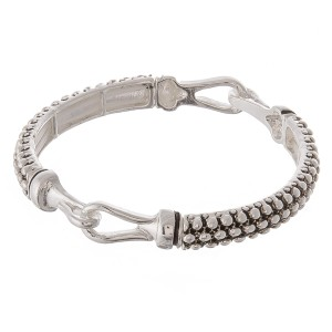 """Antique silver caviar hinge stretch bracelet.  - Approximately 3"""" in diameter unstretched - Fits up to a 7"""" wrist"""