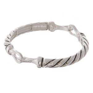"""Antique silver twisted hinge stretch bracelet.  - Approximately 3"""" in diameter unstretched - Fits up to a 7"""" wrist"""