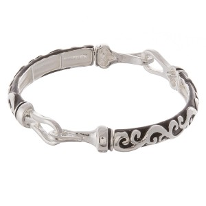 """Antique silver filigree hinge stretch bracelet.  - Approximately 3"""" in diameter unstretched - Fits up to a 7"""" wrist"""