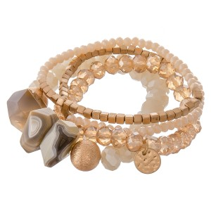 """Semi precious stone beaded stretch bracelet set with gold accents.  - 4pcs/set - Approximately 3"""" in diameter unstretched - Fits up to a 7"""" wrist"""