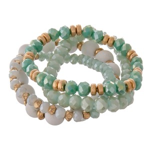 """Mint semi precious beaded stretch bracelet set.  - 4pcs/set - Approximately 3"""" in diameter unstretched - Fits up to a 7"""" wrist"""