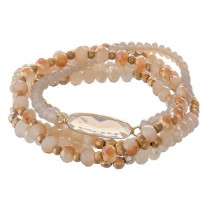 """Two tone semi precious beaded stretch bracelet set.  - 5pcs/set - Approximately 3"""" in diameter unstretched - Fits up to a 7"""" wrist"""