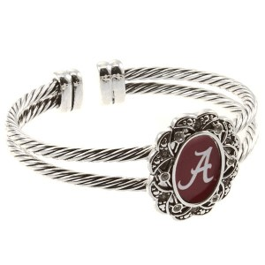 Officially licensed Alabama inspired silver tone double wired cuff bracelet featuring logo in center.