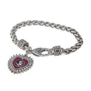 Officially licensed 7.5 inch Silver toned designer inspired lobster clasp bracelet with 1 inch heart shaped Florida State charm surrounded by rhinestones