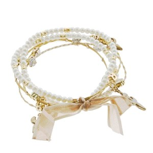 "7.5"" around ivory pearl and gold fleur de lis 5 strand whimsical illusion bracelet"