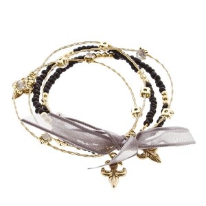 "7.5"" around black bead and gold fleur de lis 5 strand whimsical illusions bracelet"