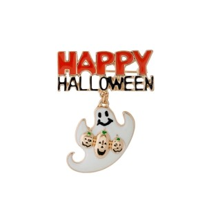 "Gold tone Happy Halloween pin with a ghost charm. Approximately 2"" in width."