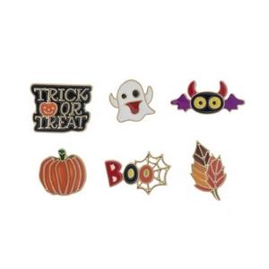 Gold tone, set of six Halloween pin set.