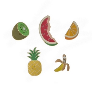 """Set of five pins in the shape of assorted fruits. All pins approximately 3/4"""" in size."""