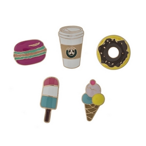 """Set of five gold tone pins in the shapes of ice cream, coffee, donuts, popsicles, and macaroons. All pins approximately 3/4"""" in size."""