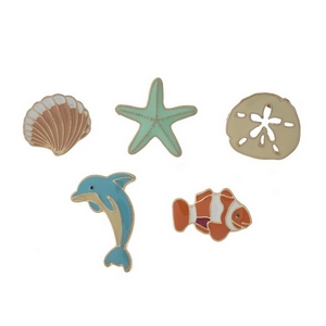 """Set of five sea life pins. All pins approximately 3/4"""" in size."""