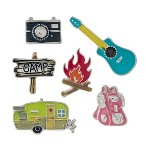 Six piece pin set with a camping theme.