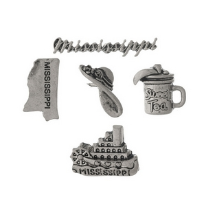 Silver tone pin set with a Mississippi theme.