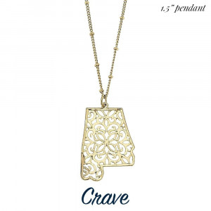"""Long metal necklace with filigree cutout state pendant. Chain is approximately 30"""" long. Pendant is approximately 1.5"""" tall or wide, depending on the shape of the state."""