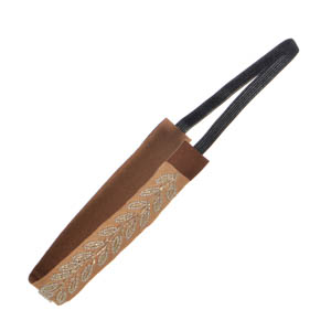 Black stretch headband featuring clear leaf shaped seed beads on brown fabric.