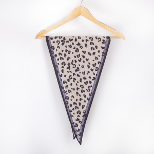 """Leopard with grey border neckerchief. 100% polyester. Approximate 28x28"""" in length."""