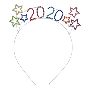 "Multicolor rhinestone ""2020"" New Year's metal headband. 