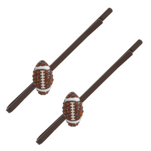"Rhinestone football enamel coated hair pin set. Features two pins. Approximately 2.5"" in length."