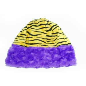 Adult size yellow and black tiger stripe beanie hat with purple faux fur trim. Reversible to solid purple faux fur.