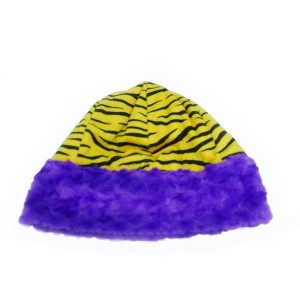 Youth size yellow and black tiger stripe beanie hat with purple faux fur trim. Reversible to solid purple faux fur.