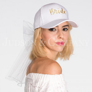 C.C BW-1 Wedding bride baseball cap with lace veil  - 90% Cotton, 10% Polyester - One size fits most