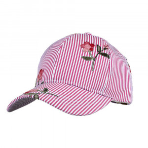 C.C Brand BA-748 pinstripe and floral baseball cap with a standard, adjustable, ponytail hole.