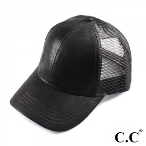 C.C Brand BA-1013 shimmering, metallic faux leather baseball cap with mesh back. Adjustable velcro back with CC leather Logo on back. 100% polyester