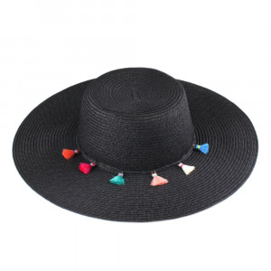 C.C brand ST-2019paper straw brim hat with a tassel band. 100% paper. UPF 50+