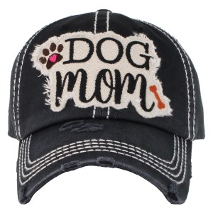 "Vintage, distressed ""Dog Mom"" embroidered baseball cap.  - One size fits most  - Adjustable velcro closure - 100% Cotton"