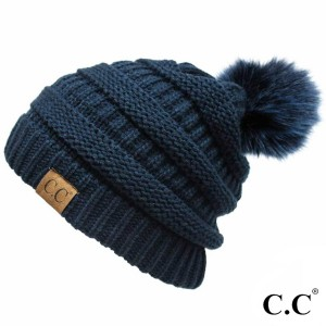 C.C YJ-64POM  Solid ribbed hat with matching faux fur pom  - 100% Acrylic - One size fits most