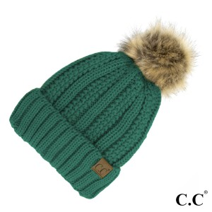 C.C YJ-820  Fuzzy lined beanie with faux fur pom  - 100% Acrylic - One size fits most