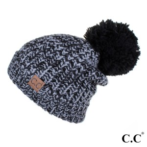 C.C HAT-123A  Chunky multicolor with knit pom  - 100% Acrylic - One size fits most