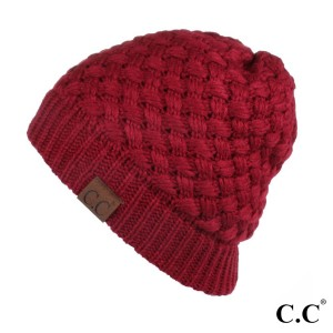 HAT-47: Ribbed knit C.C Beanie. 100% acrylic.