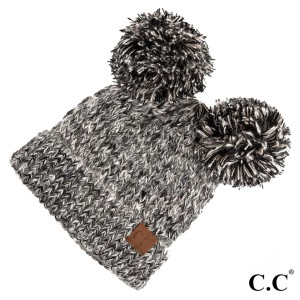 C.C HAT-23  Double pom beanie  - 100% Acrylic - One size fits most