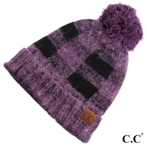 HAT-55: Buffalo check pattern C.C beanie with fuzzy lining. 100% acrylic.