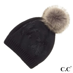 C.C HAT-501  Faux fur pom with rhinestone stars pattern  - 100% Acrylic - One size fits most