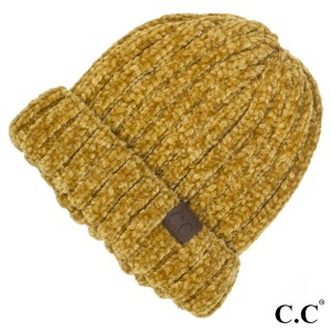C.C HAT-1815  Chunky ribbed chenille beanie  - 100% Chenille - One size fits most