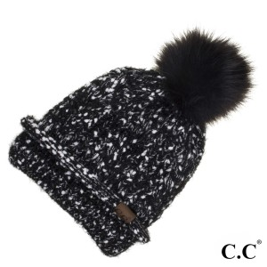 C.C HAT-1825  Eyelash confetti yarn beanie with faux fur pom  - 100% Acrylic - One size fits most - Matches C.C INF-1825