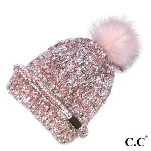 C.C HAT-1825  Eyelash confetti yarn beanie with faux fur pom  - 100% Acrylic - One size fits most
