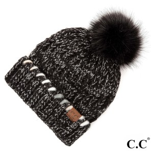 HAT-1826: Ombre yarn cuff with faux fur pom. 100% acrylic.