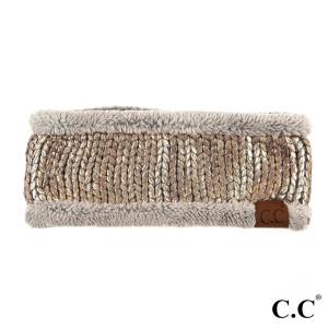 HW-701: Metallic foil C.C headband with fuzzy lining. 100% acrylic.