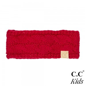 """C.C HW-20-KIDS Kids cable knit headwrap  - 100% Acrylic - Band circumference is approximately:  16"""" unstretched  18"""" stretched - Approximately 3"""" tall - Fit varies based on child's head height and shape"""