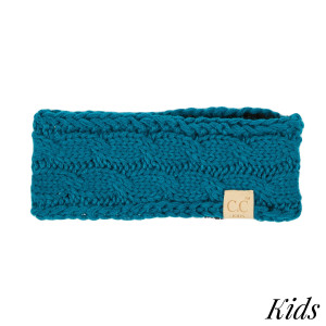 HW-KIDS: Cable knit C.C headwrap. 100% acrylic.