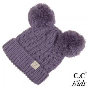 "KID-24: Chunky cable knit C.C Beanie with double pom. 100% acrylic. Measures 7"" in diameter and 8"" in length. Approximate fit: 4 to 7 years of age."